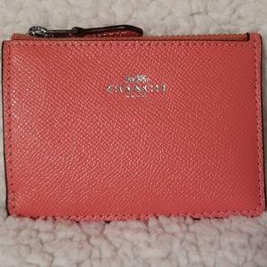 Coach coral mini wallet NWT